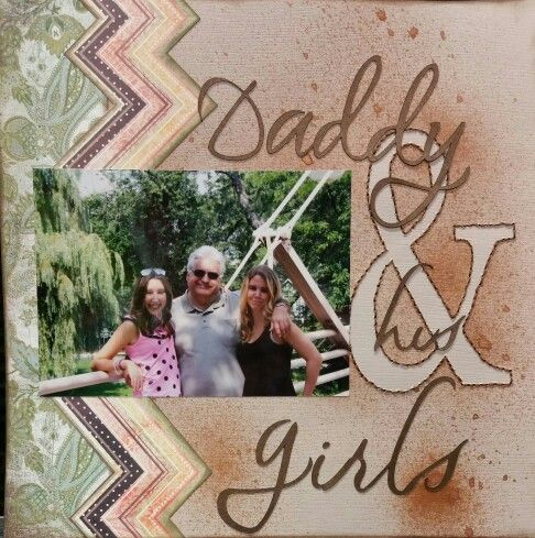 Daddy & his girls I got the idea to mask and stitch the outline if the ampersand from a pin I saved in my I ❤ Scrapbook Details board.  I love the idea !