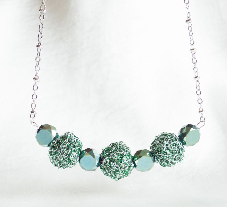 Unique Crochet NECKLACE Handmade Crochet Ball emerald green craft Wire and Silver  Woman Fashion with Green crystals by…