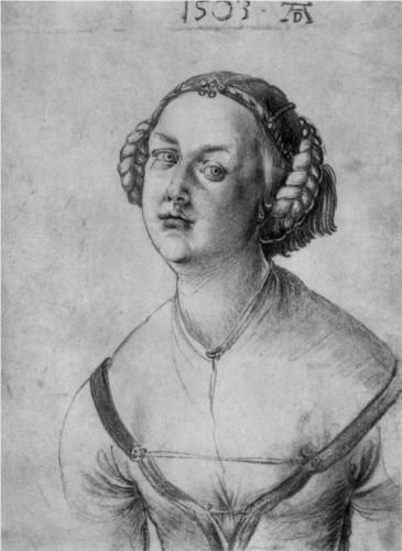 Portrait of a young woman, Durer 1503 Looks like there´s a decorated hairnet covering the real hair under the zopfes and gefrens.