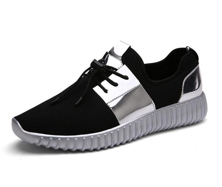 Mens Shoes Casual 2016 Fashion Air Mesh Glossy Gold Women & Mens Trainers Outdoor Breathable Lace-up Lightweight Shoes