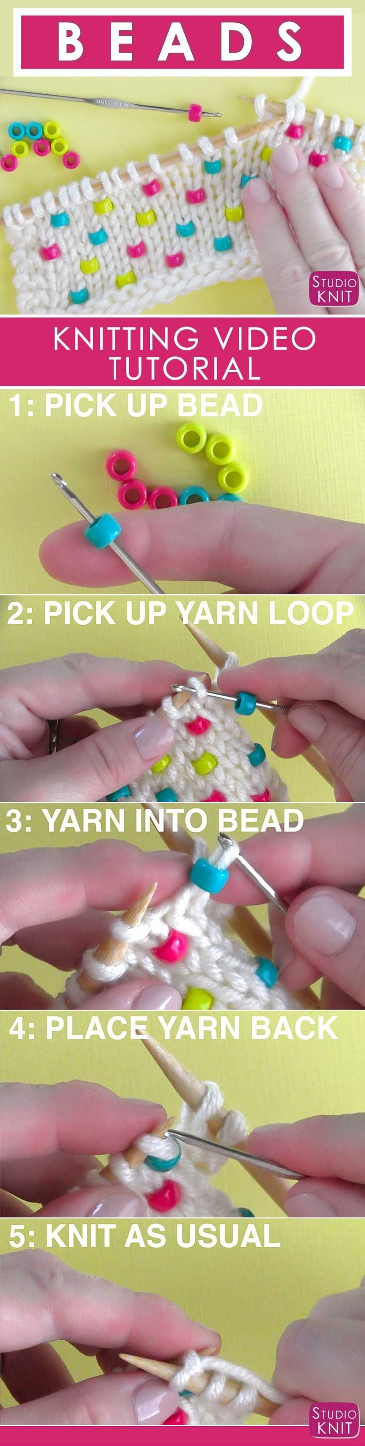 I'm learning how to Knit Beads into any project with Studio Knit - Super Easy! #StudioKnit #knittingtechnique #beads