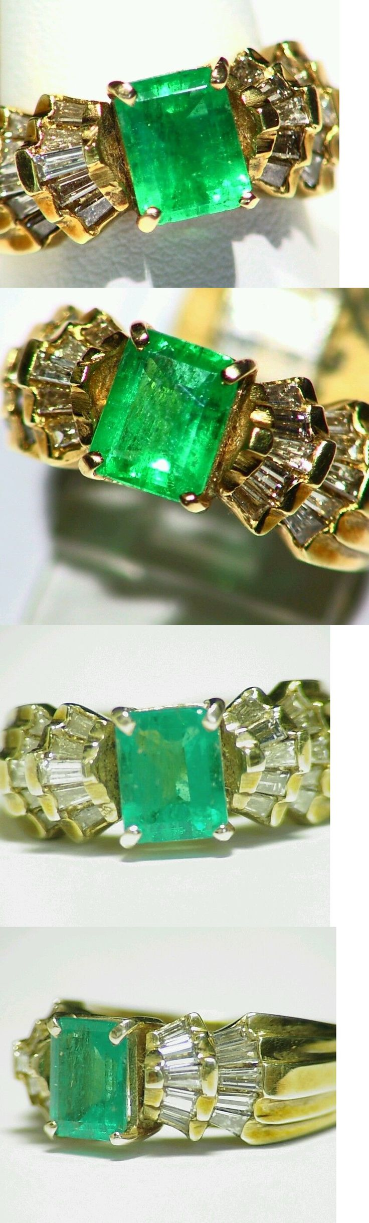 Rings 164983: 2.41Ct 14K Gold Natural Colombian Emerald White Diamond Vintage Engagement Ring -> BUY IT NOW ONLY: $1711 on eBay!