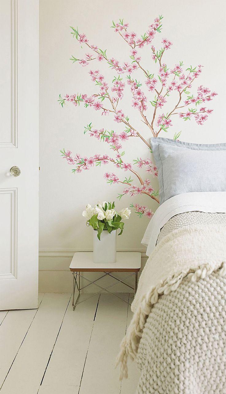 Peach blossom branch | wall art decal