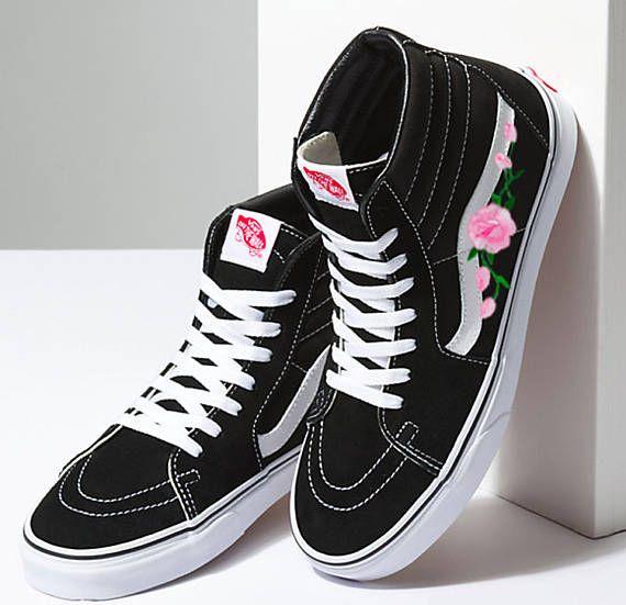 Old Skool Vans Custom Vans Sk8 Hi Vans Old Skool Rose Etsy High Top Vans Vans High Top Sneaker High Top Sneakers