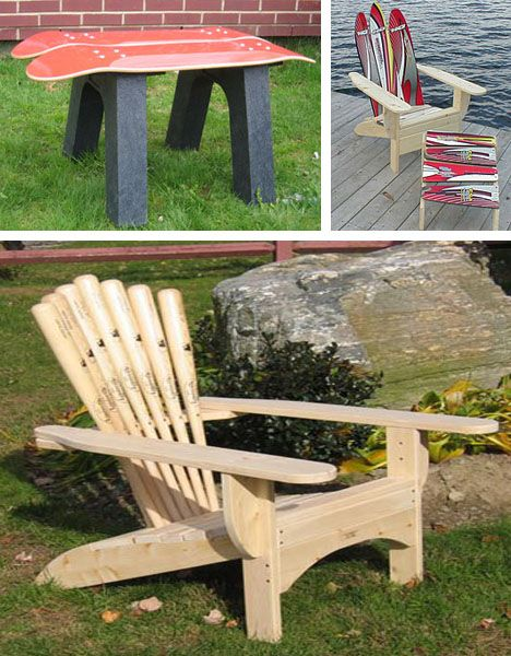 A lawn chair made out of baseball bats! Perfect for a baseball filled summer!