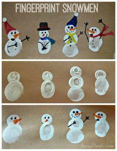DIY Fingerprint Snowman Winter Craft For Kids #Christmas craft for kids | CraftyMorning.com