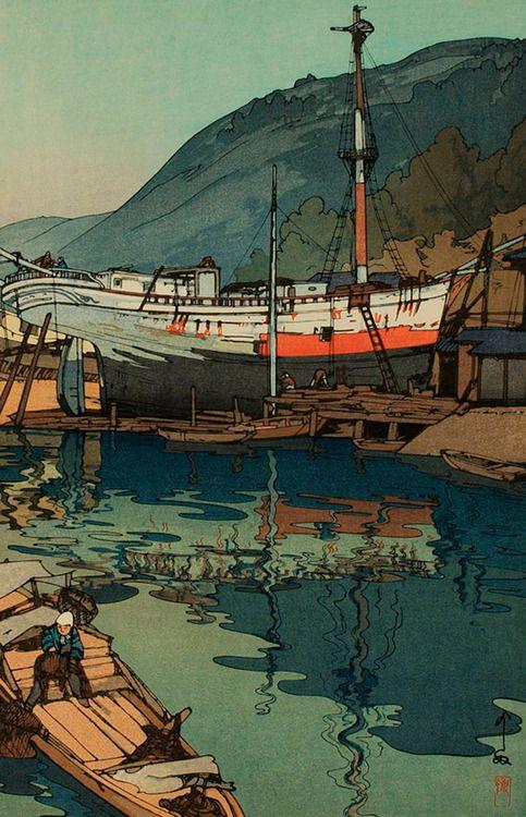Japanese Boats & Water Landscape | Tattoo Ideas & Inspiration - Japanese Art | Kinoe by Hiroshi Yoshida, 1930 | #Japanese #Art