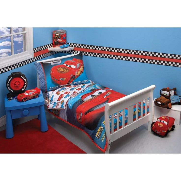 Bedroom:Splendi Disney Pixar Cars Bedroom Decor In Blue Wall Paint Color Also White Bed Frame On Red Fabric Carpet Creative Car Themed Bedroom Ideas for Kids