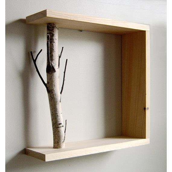 simple shelf with birch branch