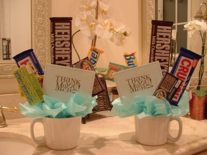 Guy version!!  I made these mug gift baskets for my other sons male teachers.