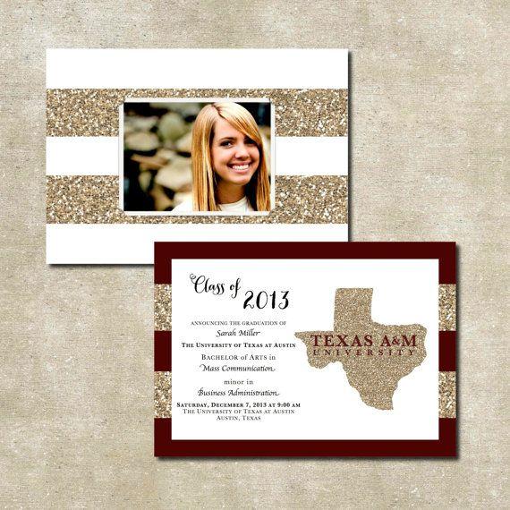 SALE. Printable State of Texas Glitter Graduation Invitations. DIY. Custom. Digital. Printable. Unique. Graduation Invite. Texas Graduation. on Etsy, $14.00