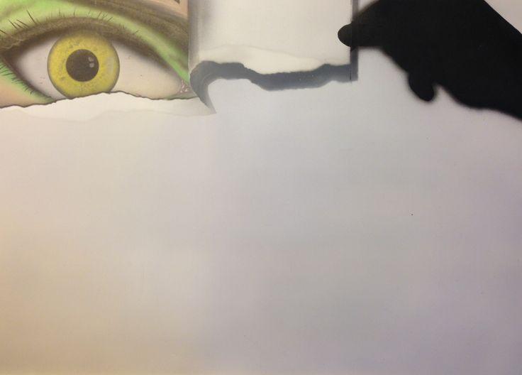 Ojo oculto, dibujo con aerografo. Airte