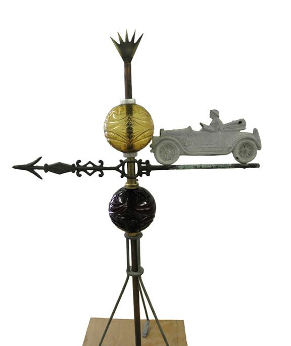 Antique Car and Moon and Star Lightning Rod Balls: Cars Lightning, Rods Ball, Baier Collection, Metals Art, Lightning Rods, Weathervan Pictures, Antiques Cars, Antiques Weathervan, Antique Cars
