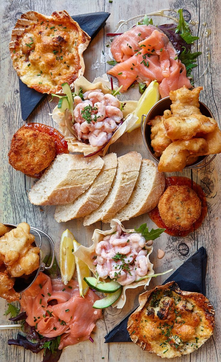 More dining options at Black Sheep Brewery: smoked salmon, mini prawn cocktail, beer-battered haddock goujons, salmon and prawn fishcake, baked queen scallops in garlic butter and Gruyère, served with baked ciabatta and salad leaves. (Photo: Andy Haslam for The New York Times)