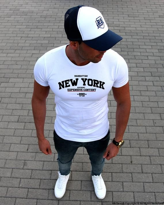 10ee9c4a Funny Slogan Mens T-shirt New York Street Fashion Graphic Tee Crew, Deep V- Neck White Shirt Muscle S in 2019 | Rb Design Men's Fashion | Mens fashion,  ...