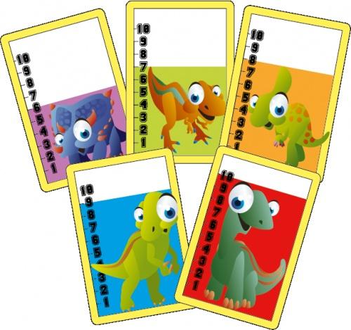 La bataille des dinos : un jeu de bataille pour réviser les nombres de 1 à 10 avec les CP.    Dino's battle : a card game to practice numbers (0 - 10) with first grade children