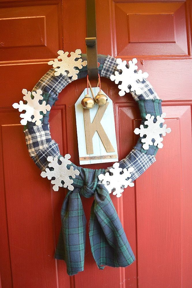 Snowflake and Flannel Winter Wreath