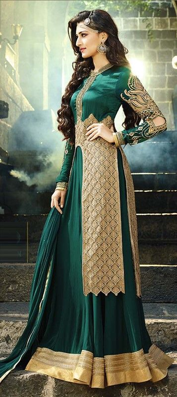 434061 Beige and Brown, Green color family Party Wear Salwar Kameez in Faux…