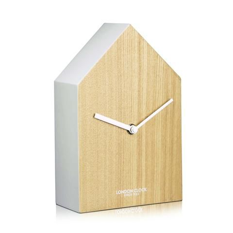 London Clock Company 'Hus' Mantel Clock, Wood and White, 20cm x 13cm x 6cm | The Bowery