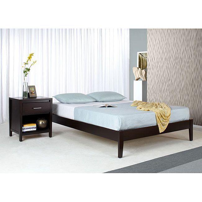 domusindo tapered leg fullsize platform bed brown