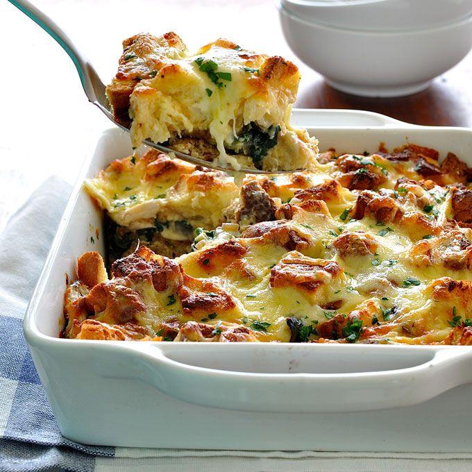 Chicken and Spinach Bread Bake (Strata) - RecipeTin Eats