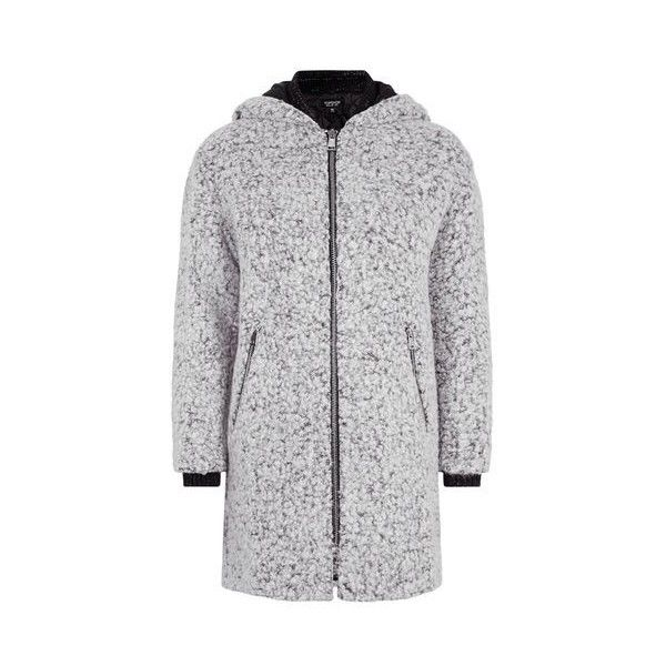 TopShop Salt and Pepper Wool Coat (2 990 UAH) ❤ liked on Polyvore featuring outerwear, coats, monochrome, quilted coat, hooded wool coat, hooded coat, woolen coat and zip wool coat