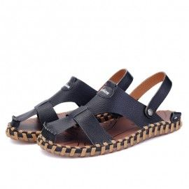 Men's Summer Sandals Leather Closed Toe Comfortable