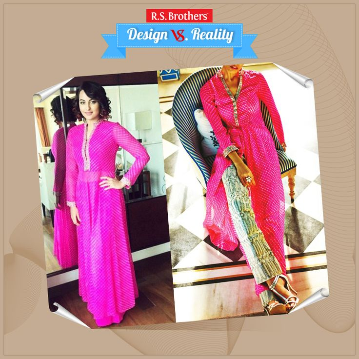 #Design vs #Reality #SonakshiSinha Looks Awesome in Leheriya Kurta by Anita Dongre. How Much Would you Rate for her Style out of 5? (Image copyrights belong to their respective owners)