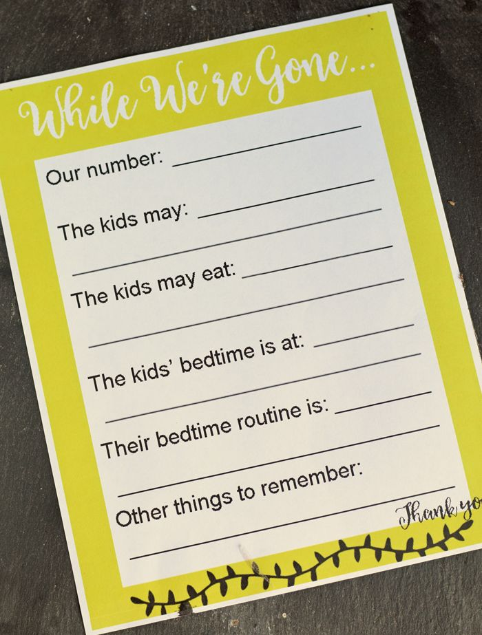 Free Printable Babysitting Notes AD Best 43