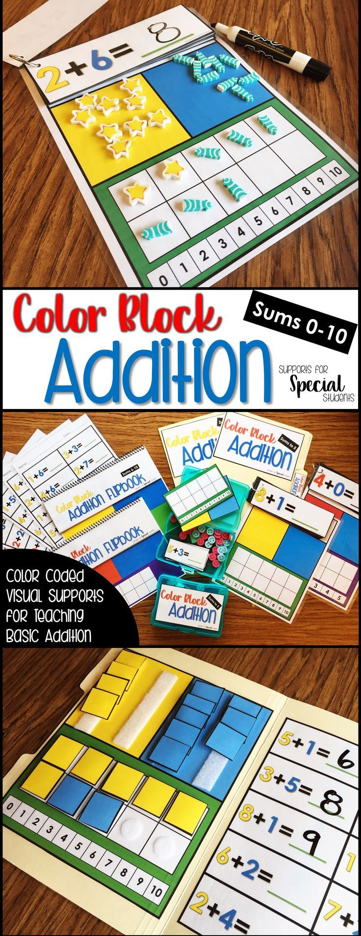 This resource is filled with color-coded supports for basic addition. There are 2 full sets within this pack; one set of materials for sums up to 5 and another set for sums from 6-10. All of the materials can be used with any set of classroom manipulatives. The perfect way to teach addition for special education, kindergarten or first grade.  By Supports for Special Students
