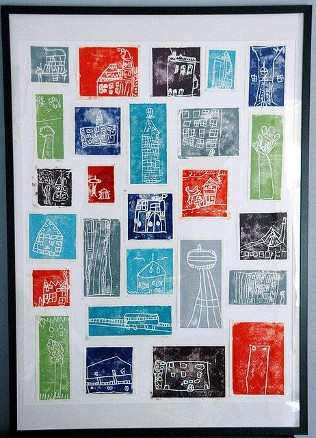 """City"" block print collage, kindergarten auction project"