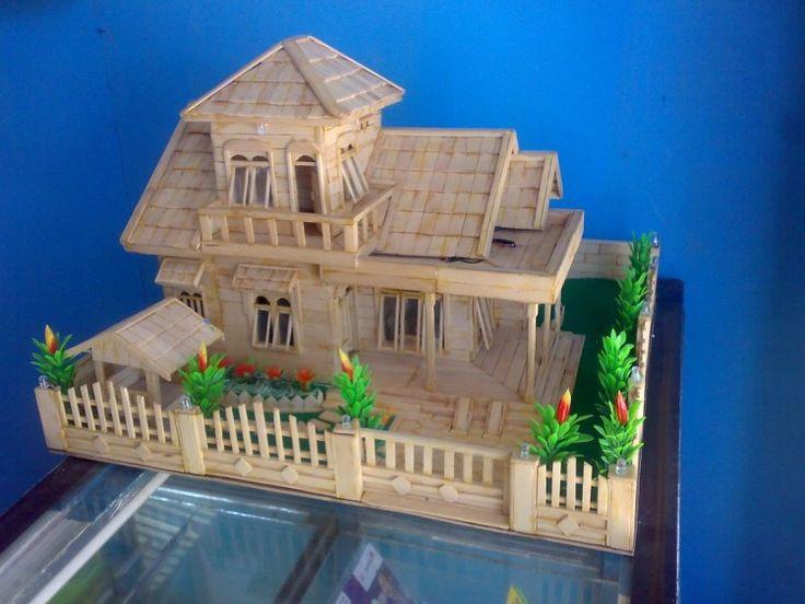 Kerajinan Stik Es Krim Miniatur Rumah