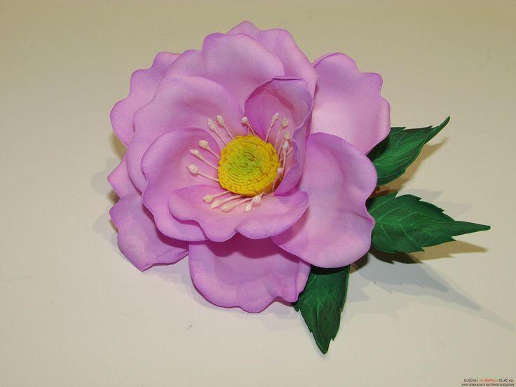 Этот подробный мастер-класс научит как сделать своими руками цветок шиповника из фоамирана.. Фото №14