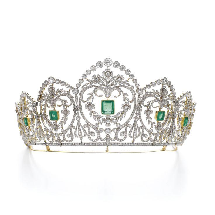 Emerald and diamond tiara, circa 1910