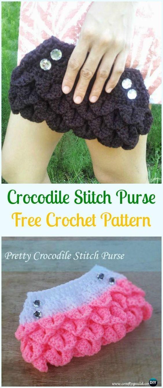 Crochet Crocodile Stitch Purse Free Pattern - Crochet Clutch Bag & Purse Free Patterns