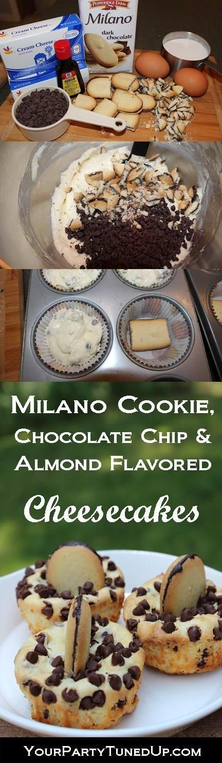 MILANO COOKIE, CHOCOLATE CHIP AND ALMOND FLAVORED CHEESECAKES.  A 70s recipe made new with a favorite Pepperidge Farm cookie.  This Milano Magic would brighten anyone's day!