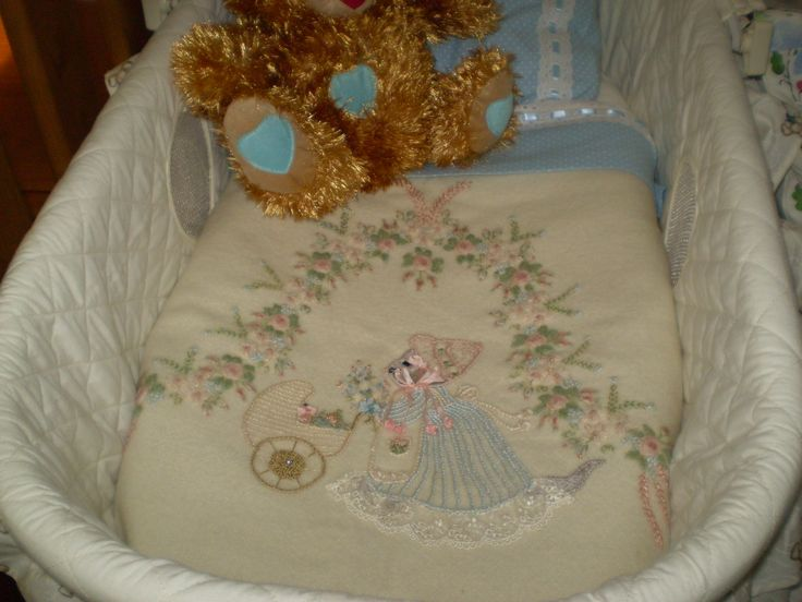 Wool embroidery bassinet or pram cover I made for my grandchildren to share when it was their turn!