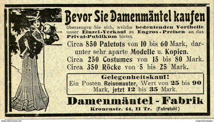 Original-Werbung/ Anzeige 1903 - DAMENMÄNTEL - FABRIK / KRONENSTRASSE - BERLIN - Ca. 100 X 55 Mm - Werbung