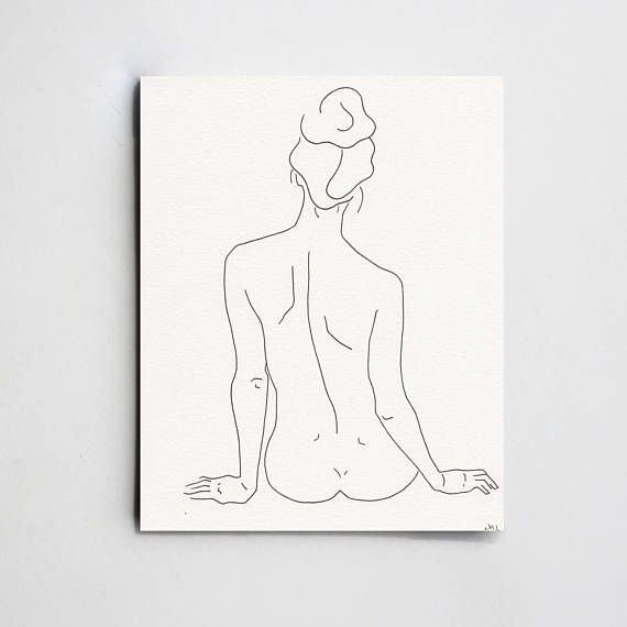 Silhouette minimalistic drawing. Minimal art. Woman back. Black and white art Female silhouette lines Sketch of a Nude Woman 8×10 – Frida