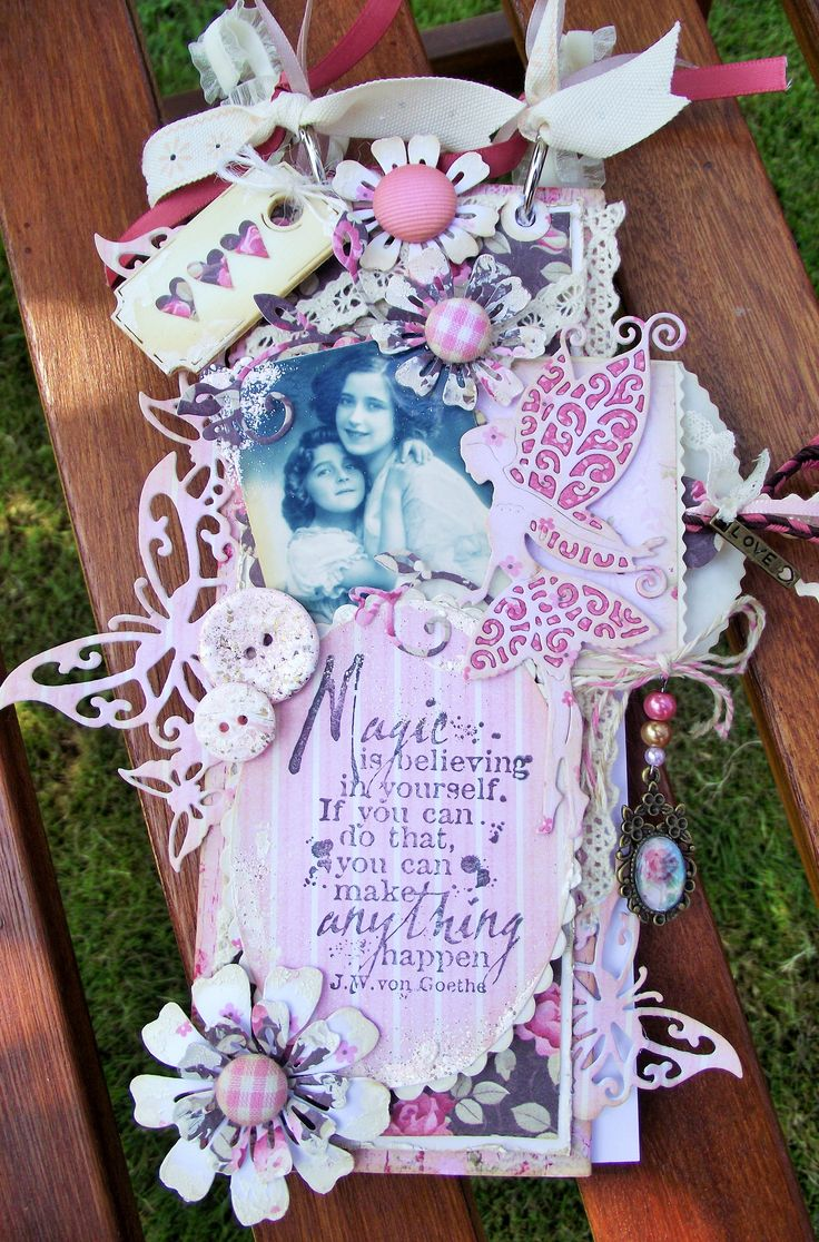 Notebook shabby chic style....could be used as a mini scrapbook