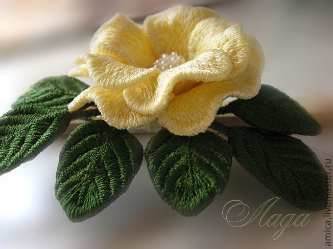 Купить Брошь.Вышивка. Английская роза. - брошь, брошка, роза, украшение, небольшая брошь, цветок