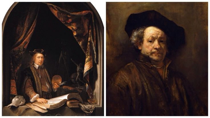 Self Portraits, Gerrit Dou (left) Rembrandt (right)