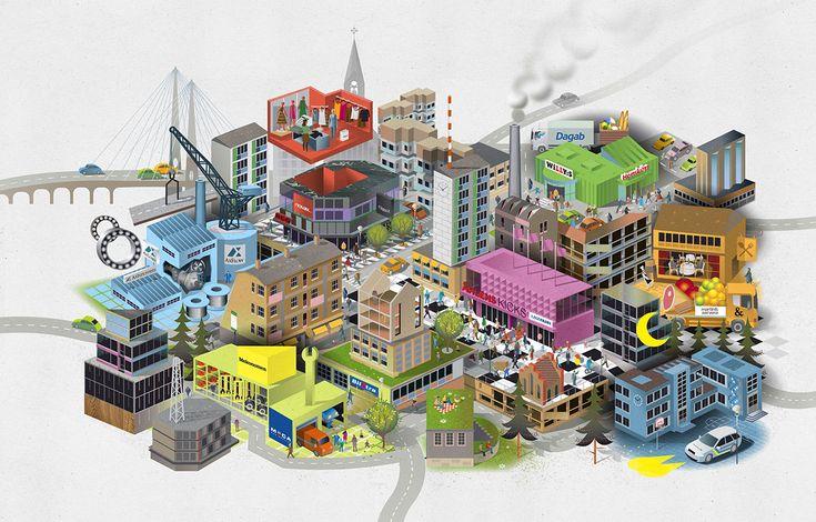 """Cityscape illustration """"Axville"""" for Axel Johnson Group. Illustration: Nils-Petter Ekwall www.nilspetter.se"""