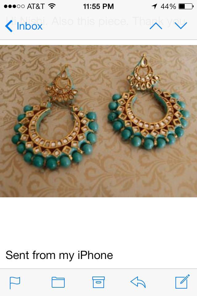 Kundan bali#blue#earrings