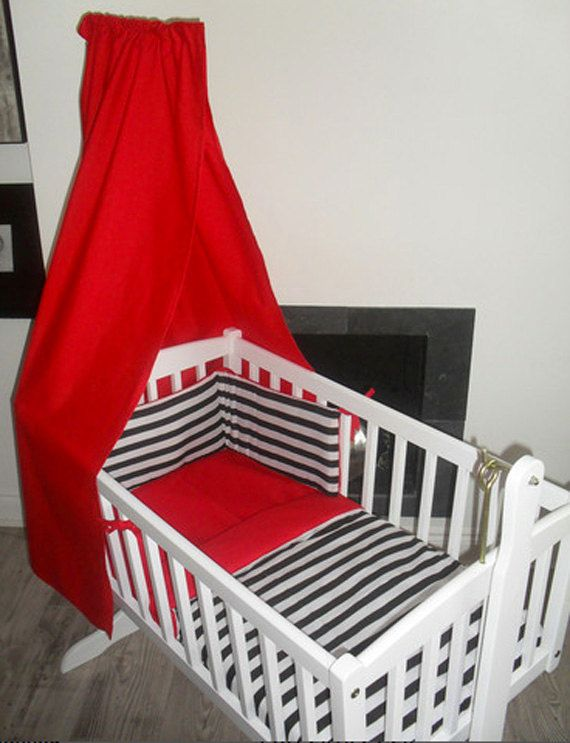 Black and White Stripe Crib Cradle bedding Bumper by SiennaChic, £34.99