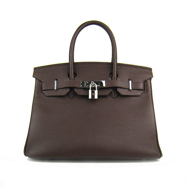 Dark Coffee Hermes 30CM Birkin Bag Clemence Leather With Silver HW Product Model: Hermes Birkin 30CM  Availability: In Stock  Color: Dark Coffee / Silver  Material: Calf Leather  Size: W30×H22×D16CM  Package: Hermes dust pouch, padlock, keys and key ornaments  Shipping: Free Price: $239