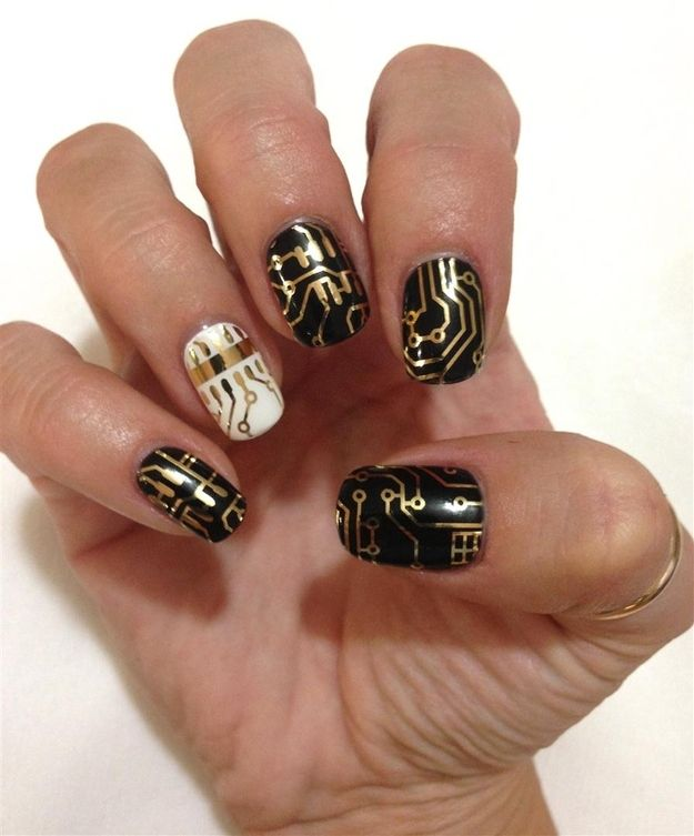 Circuit Board Nail Art For The Nerdy Ladies OutThere