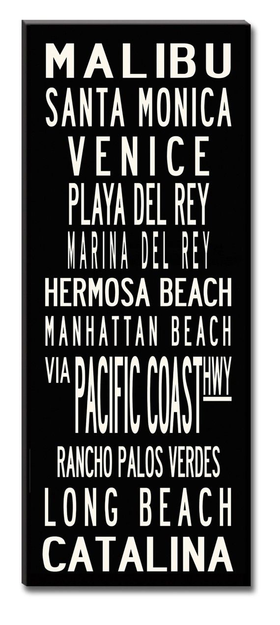 SALE PRICE-Los Angeles Coast, Large 24x60 Gallery-Wrapped Canvas Subway Art,-Ready to Ship