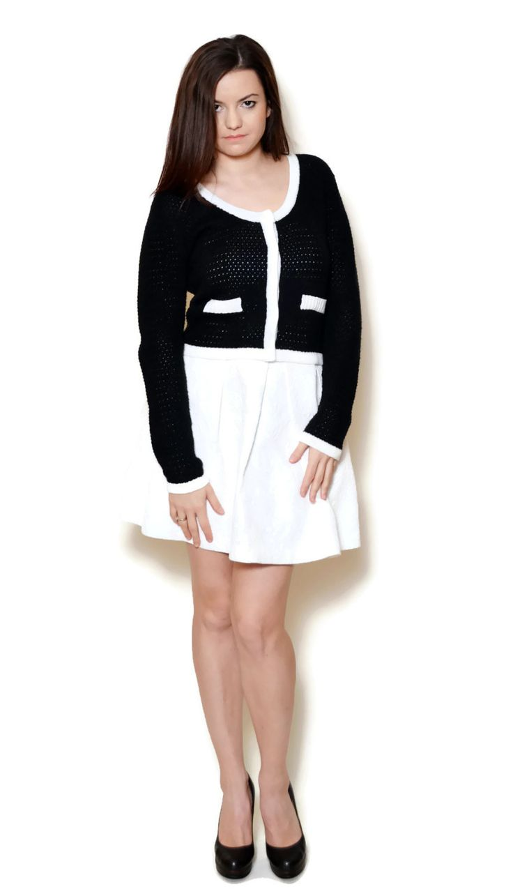 black and white sweater outfit cardigans  US$14.95
