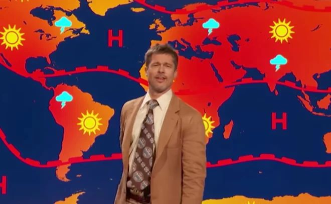 'There Is No Future': Brad Pitt Gives Doomsday Forecast in Comedy Skit | http://sibeda.com/there-is-no-future-brad-pitt-gives-doomsday-forecast-in-comedy-skit/